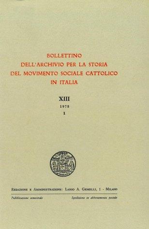 Note sul dibattito all'interno del movimento cattolico organizzato intorno ai problemi dell'azione assistenziale in Italia nell'ultimo quarto dell'Ottocento
